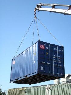 Lifting a 20ft storage container into place | GVCT ...