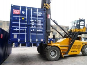 Picture from our factory showing a container destined for sales or rental