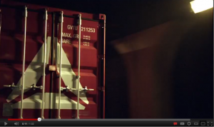 A GVCT 20 foot shipping container on the Reebok TV advert